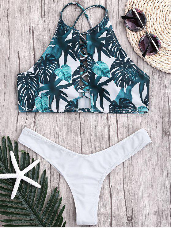 sale Leaf Thong Ruched Strappy Bikini - WHITE M