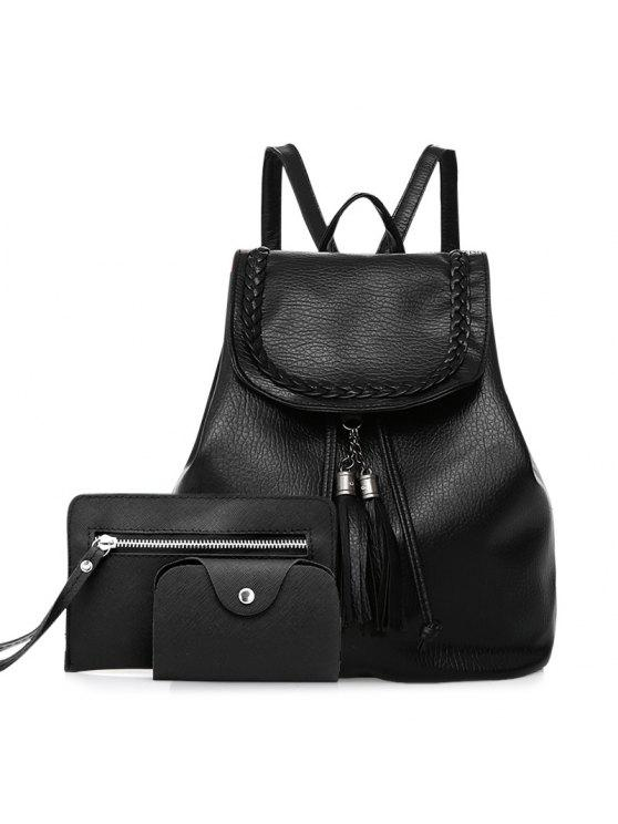 affordable Tassel Faux Leather Backpack Set - BLACK