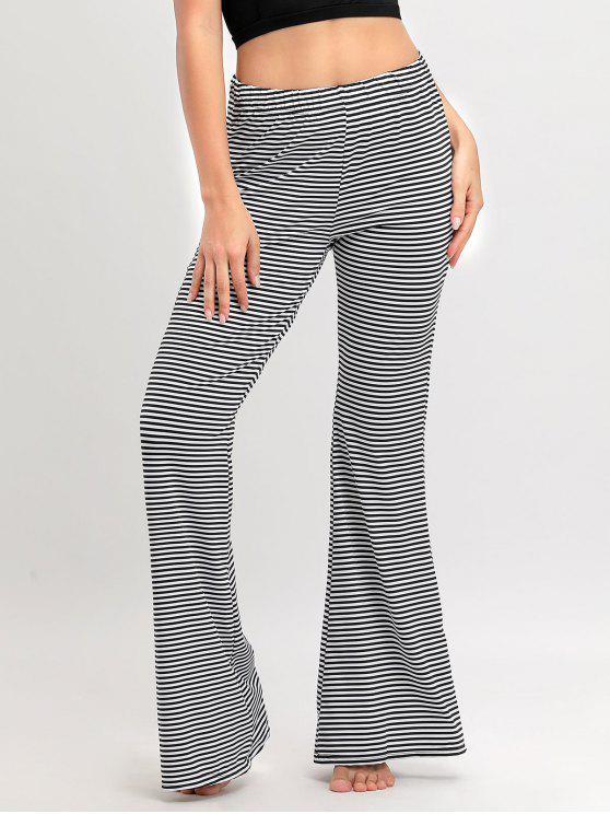 Calças listradas de perna larga - Preto Branco XL