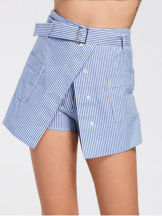 affordable Belted Striped Skorts with Pockets - LIGHT BLUE M