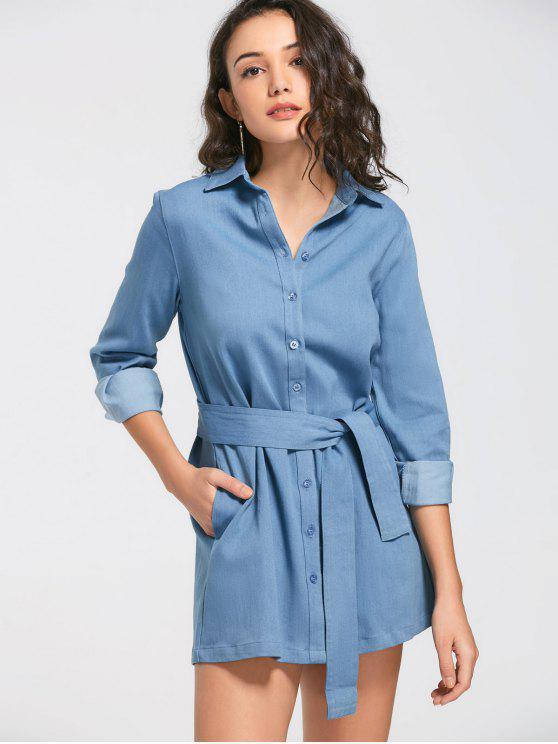 فستان شيرت الدانيم مربوط طويلة الأكمام - ازرق M