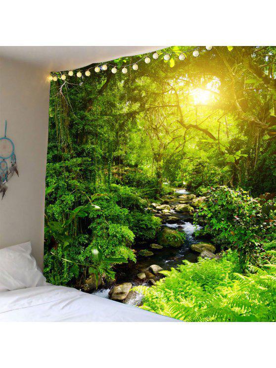 الغابات تيار أشعة الشمس للماء الجدار شنقا نسيج - أخضر W79 بوصة * L59 بوصة