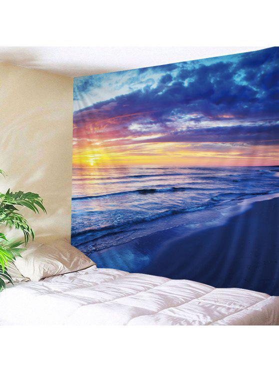الجدار شنقا فن ديكور شاطئ الشروق طباعة نسيج - أزرق W79 بوصة * L59 بوصة