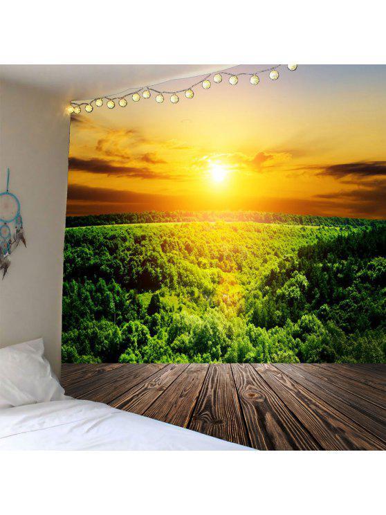 الغروب الغابات ماء الجدار شنقا نسيج - أخضر W59 بوصة * L51 بوصة