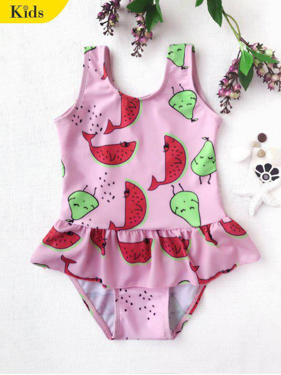 hot Pear Watermelon Print One Piece Swimsuit - PINK 6T