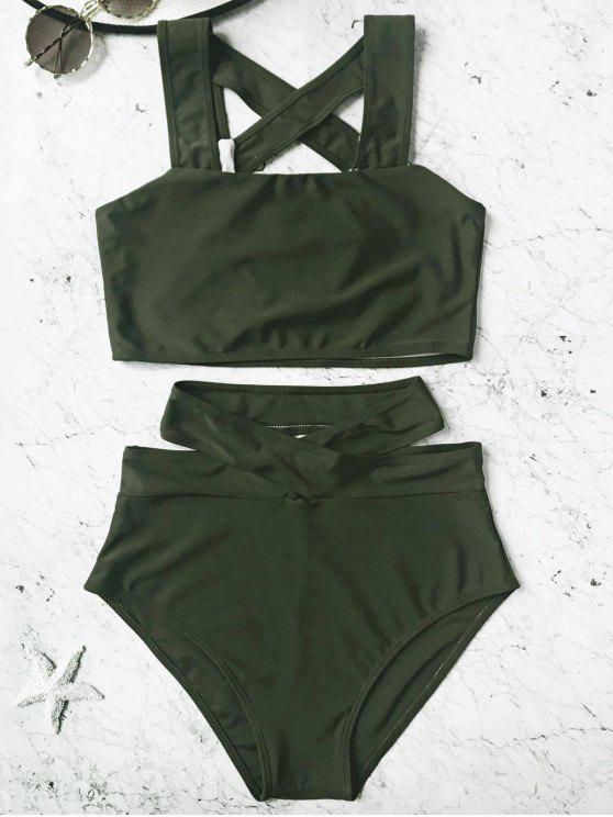 Conjunto de Bikini de talle alto enjaulado - Verde Cazador S