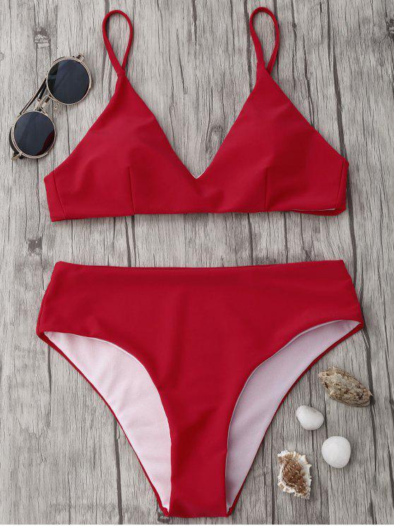Spaghetti Strap alta cintura bikini conjunto - Rojo S