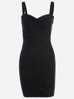 Sweetheart Neck Bodycon Bandage Dress - Black L