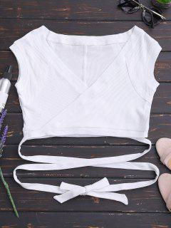 Crossover Ribbed Wrap Top - White S