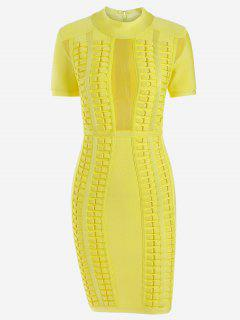 Mesh Panel Bodycon Bandage Dress - Yellow L
