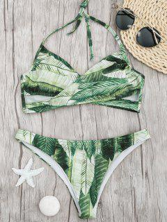 Palm Leaf Print Crossover Bikini Set - Green M