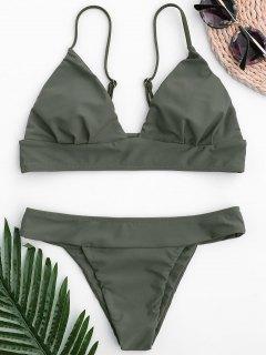 Thong Bralette Bikini - Army Green L