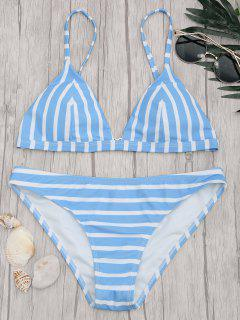 Chevron Striped Padded Cami Bikini Set - Blau & Weiß S