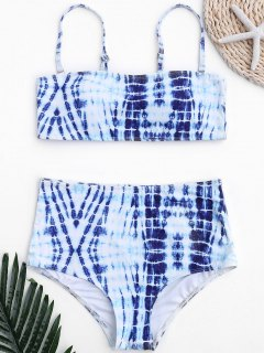 Tie-Dyed High Waisted Bathing Suit - Blue And White L