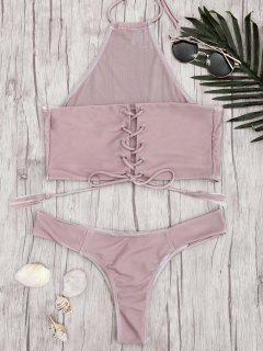 Mesh High Neck Lace Up Bikini Set - Pale Pinkish Grey M