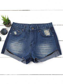 Ripped High Low Hem Denim Shorts - Denim Blue 28
