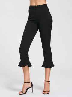 Pantalones Capri De Cintura Alta Con Volantes - Negro M