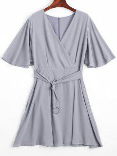 Flouncy Sleeve Belted Chiffon Dress - Gray L