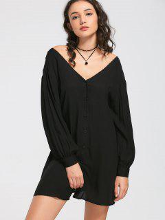 V Neck Button Up Mini Dress - Black M