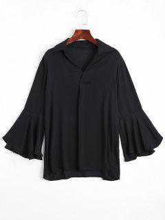 Loose Chiffon Flare Sleeve Blouse - Black L