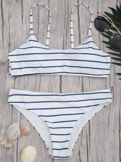 Gepolsterte Gestreifte Bralette Schaufel Bikini Set - Blau & Weiß S