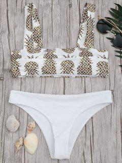 Square Neck Pineapple Print Bikini Set - White M