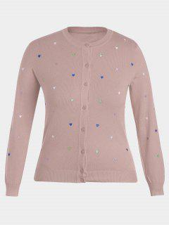 Heart Embroidered Plus Size Knitwear - Pink 2xl
