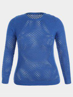 Pullover Plus Size Hollow Out Sweater - Royal 3xl