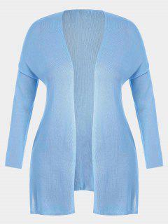 Open Front Plus Size Slit Cardigan - Light Blue 2xl