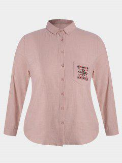 Embroidered Plus Size Pocket Shirt - Pink 4xl