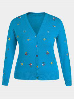 Plus Size Embroidered Knitwear - Lake Blue Xl
