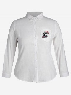 Plus Size Pocket Embroidered Shirt - White 4xl