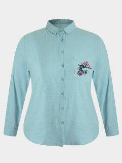 Plus Size Pocket Embroidered Shirt - Blue Green 2xl