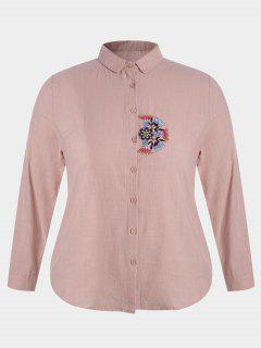 Plus Size Embroidered Single Breasted Shirt - Pink 3xl