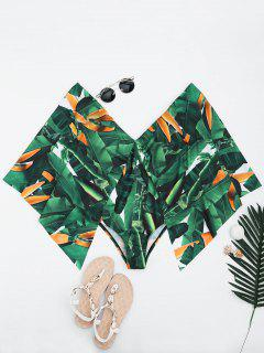 Palm Leaf Batwing Sleeve Plus Size Cape Swimwear - Green 2xl