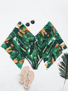 Palm Leaf Batwing Sleeve Plus Size Cape Swimwear - Green 5xl