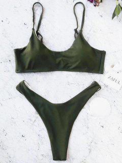 Cami Padded Bralette Thong Bathing Suit - Green M