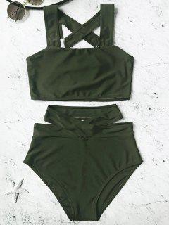 Caged High Waisted Bikini Set - Hunter Green M