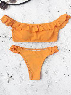 Padded Frilled Off The Shoulder Bikini Set - Orange L