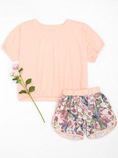Loungewear Top With Floral Dolphin Shorts - Pink L