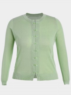 Buttons Plus Size Cardigan - Light Green Xl