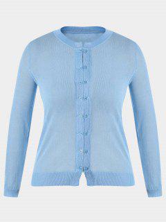 Buttons Plus Size Cardigan - Light Blue Xl