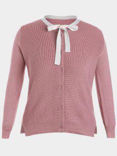 Side Slit Bow Tie Plus Size Knitwear - Pink 4xl