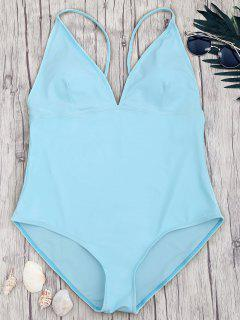 Shaping Plus Size V Neck One Piece Swimsuit - Blue 5xl