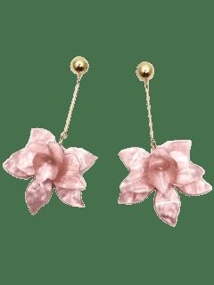 Stereo Floral Design Pendant Drop Earrings - Papaya