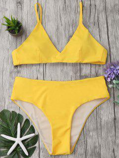 Spaghetti Strap High Waist Bikini Set - Yellow M