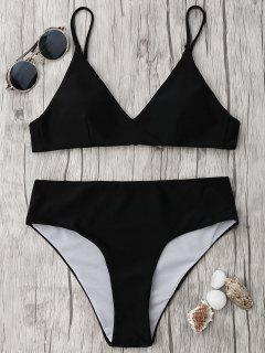 Spaghetti Strap Alta Cintura Bikini Conjunto - Negro Xl
