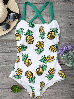 Pineapple Print Cross Back Swimsuit - Xl