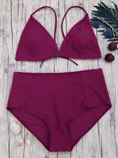 High Waisted Plus Size Bikini Set - Merlot 2xl