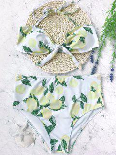 Lemon High Waisted Bandeau Bikini Set - White And Yellow M